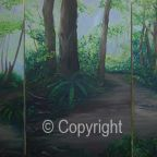 My 3 Woodland Walk paintings viewed together. Go to the Land and Sea Gallery for the detail of each pintingto